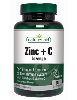 Natures Aid Zinc Lozenges with Vitamin C 30 Lozenges