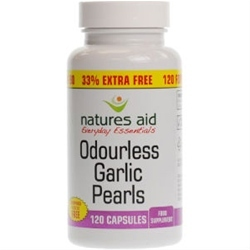 Natures Aid Garlic Pearles Odourless 120 Capsules