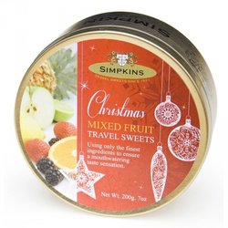 Simpkins Christmas Travel Sweets - Mixed Fruit 200g Bauble Tin