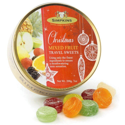 Simpkins Festive Christmas Travel Sweets - Mixed Fruit 200g Bauble Tin