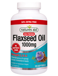 Natures Aid Flaxseed Oil 1000mg - 135 Caps EXTRA VALUE PACK