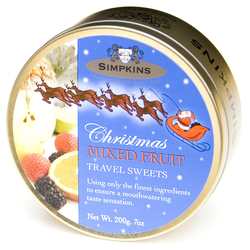 Simpkins Festive Christmas Travel Sweets - Mixed Fruit 200g Reindeer Tin