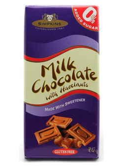 Simpkins No Added Sugar Milk Chocolate Hazelnut 75g