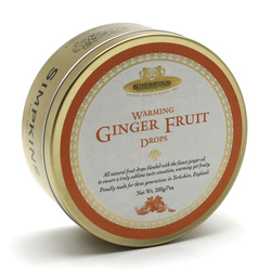 Simpkins Classic Warming Ginger Fruit Drops Travel Sweets 200g Tin