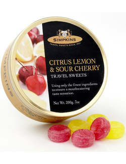 Simpkins Travel Sweets - Citrus Lemon & Sour Cherry 200g Tin