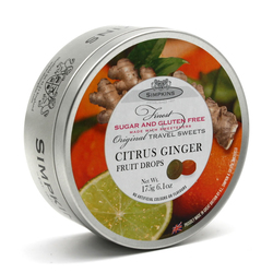 Simpkins Sugar Free Citrus Ginger Travel Sweets 175g Tin