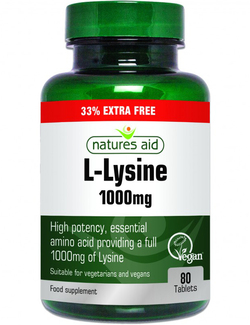 Natures Aid L-Lysine 1000mg 80 Tablets Extra Value Pack