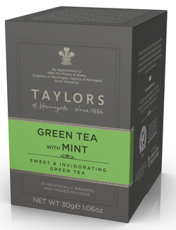 Taylors of Harrogate Green Tea with Mint 20 Wrapped & Tagged Tea Bags