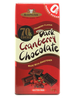 Simpkins Sugar Free Dark Cranberry Chocolate 75g