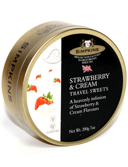Simpkins Travel Sweets - Strawberry & Cream 200g Tin