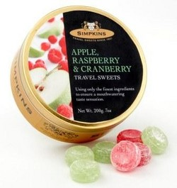 Simpkins Travel Sweets - Apple, Rasp, Cranberry 200gm