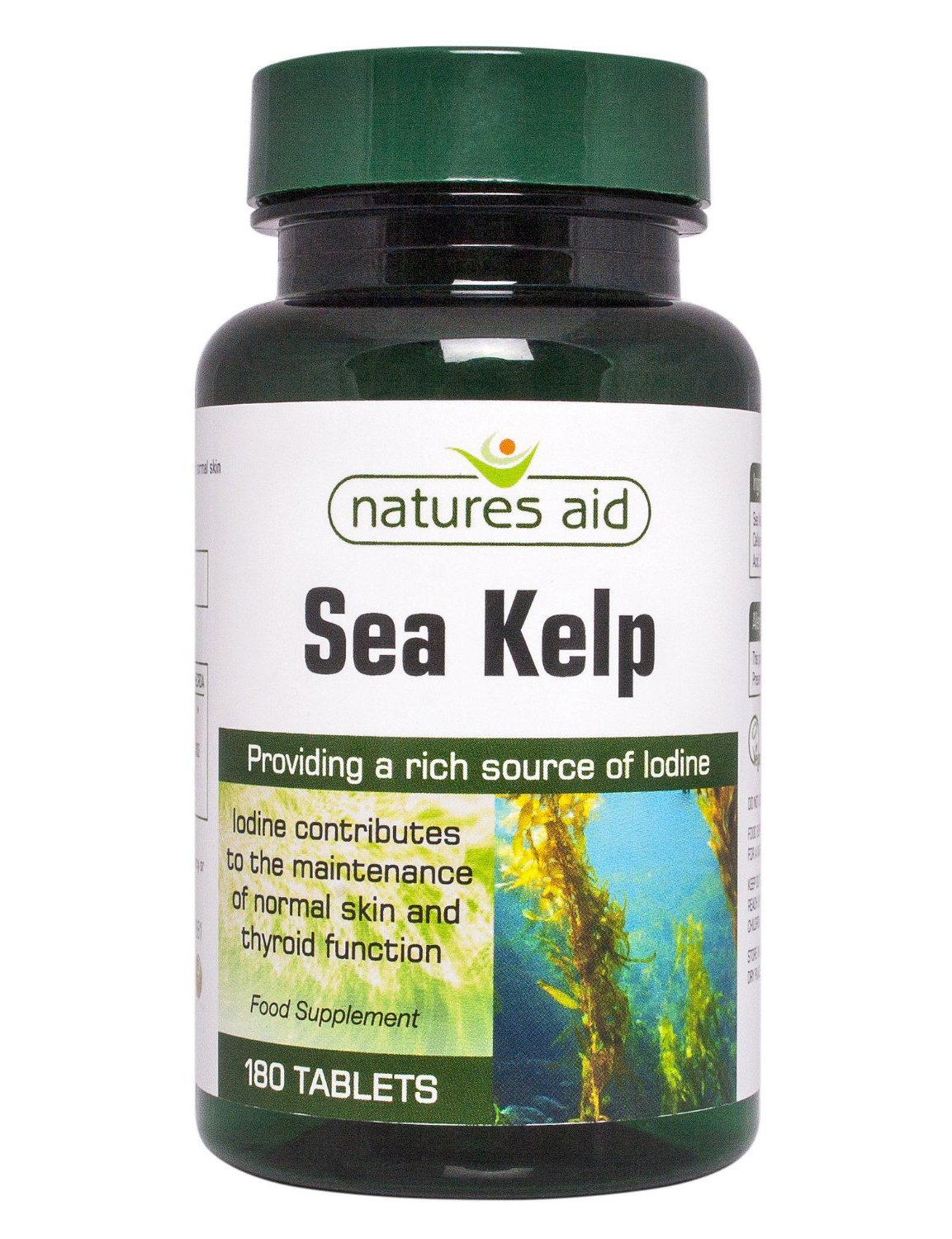 natures aid sea kelp 180 tablets rich in iodine